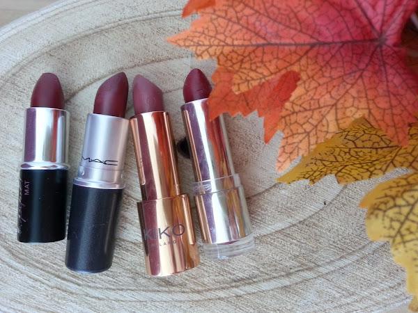 Mes rouges à lèvres d'automne