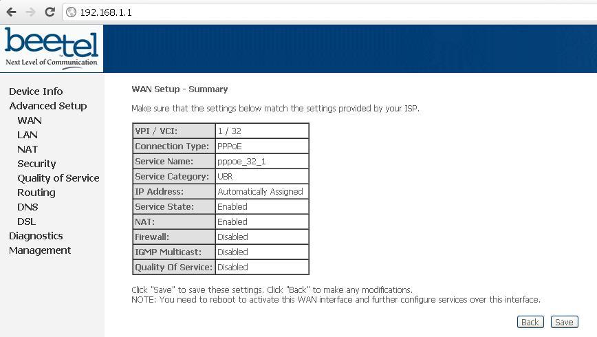 Airtel Broadband WAN Setup Summary