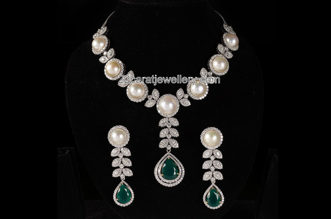 South Pearl Diamond Set Jewellery Designs