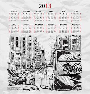 街のスケッチが背景のカレンダー テンプレート 2013 calendars with sketches of city イラスト素材2