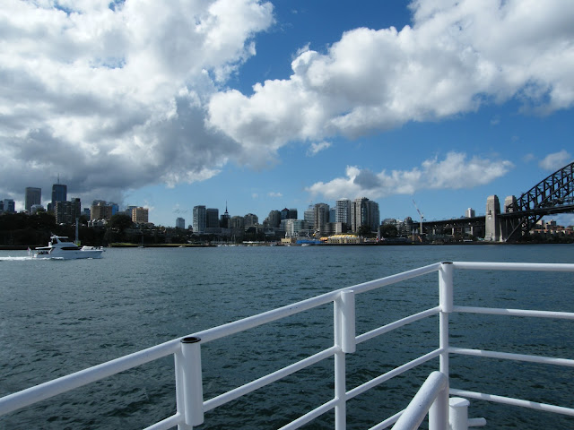 Sydney harbour from boat. View of Northshore and bridge.