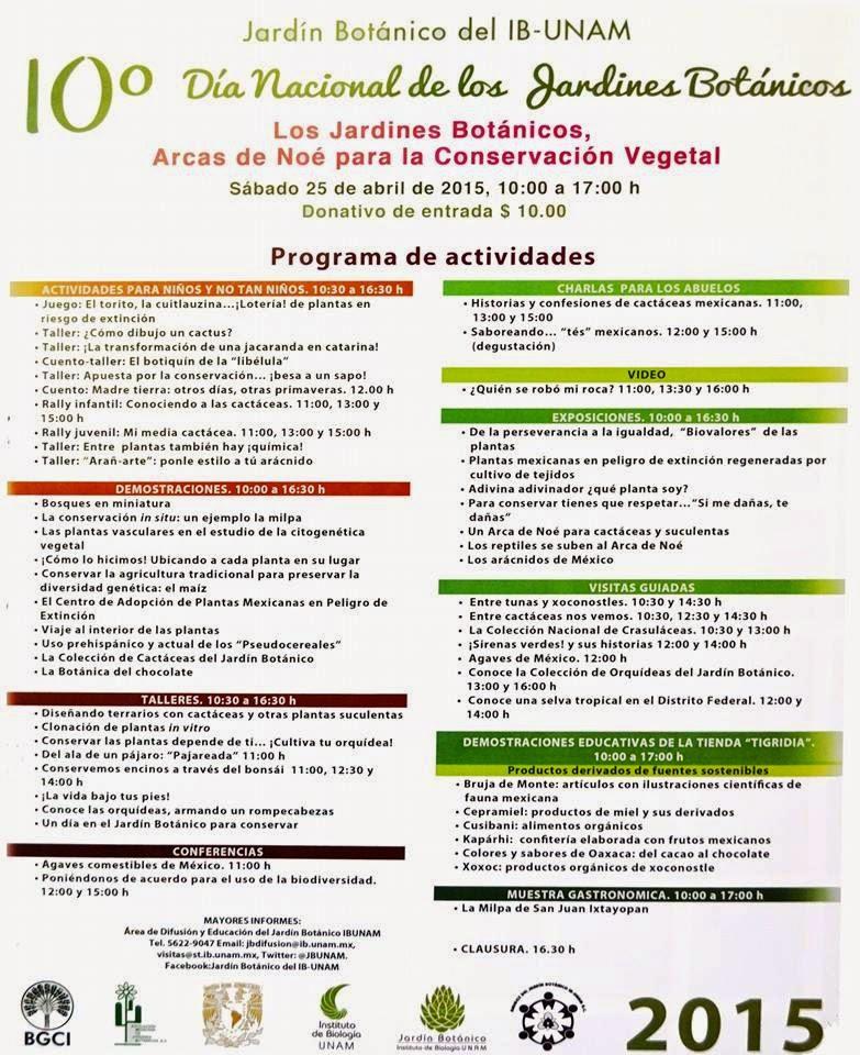 El cuexcomate 10 dia nacional de los jardines bot nicos for Como ir al jardin botanico