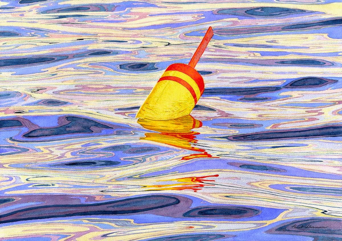 "Yellow Lobster Buoy And Water - Watercolor 14"" x 20"""