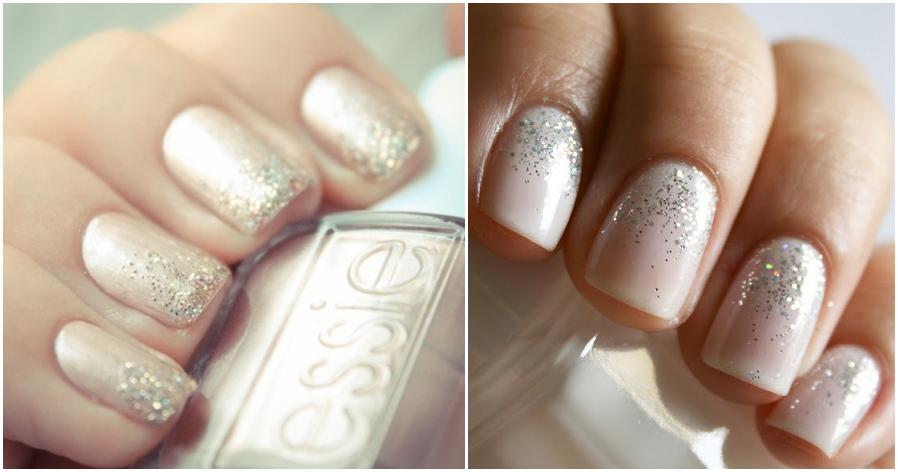 White Glitter Ombre Nails White Glitter Wedding Nails
