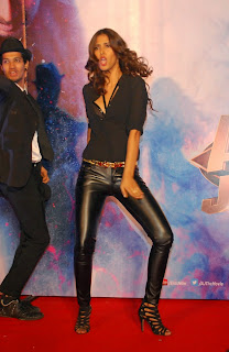 Manasvi Mamgai super cute in Latex LEggings and High Heels with a black skirt at Gangster Baby Song Launc from Action Jaskon movie