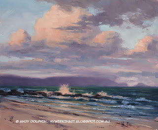 Perkins Beach, Albany. Seascape clouds in oil by Andy Dolphin.