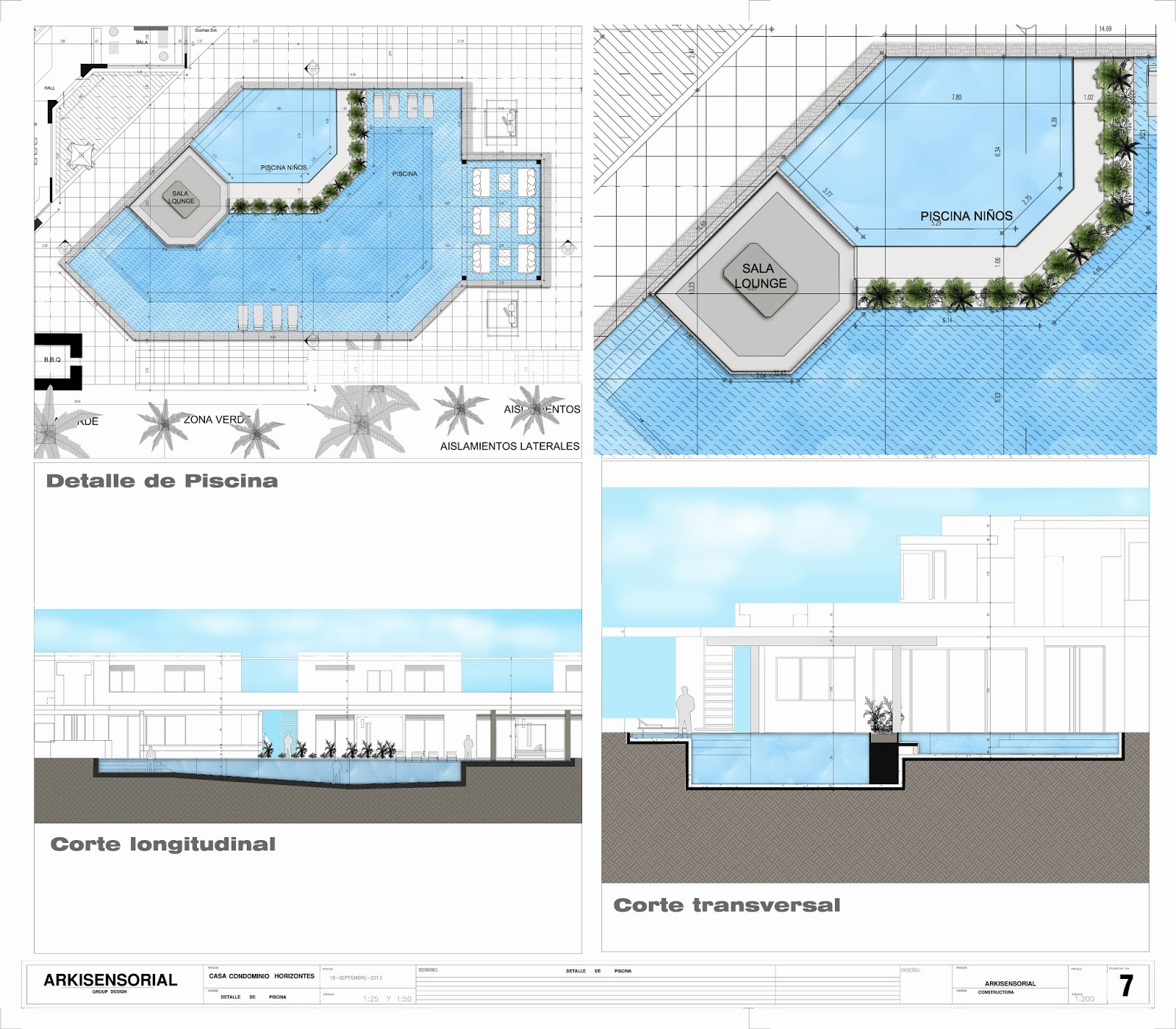 Planos de piscinas piscina borde madera planos de for Plano alberca