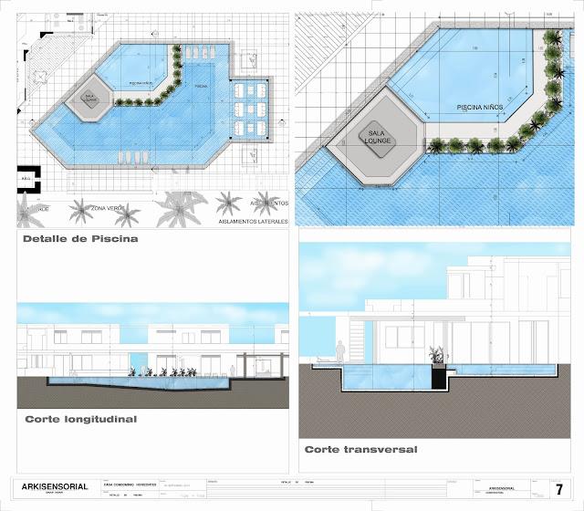 Proyecto arquitect nico final planos detalles y maqueta for Planos para hacer una piscina