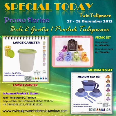 Promo Harian Twin Tulipware Desember 2013, Large Canister, Picnic Set, Medium Tea Set