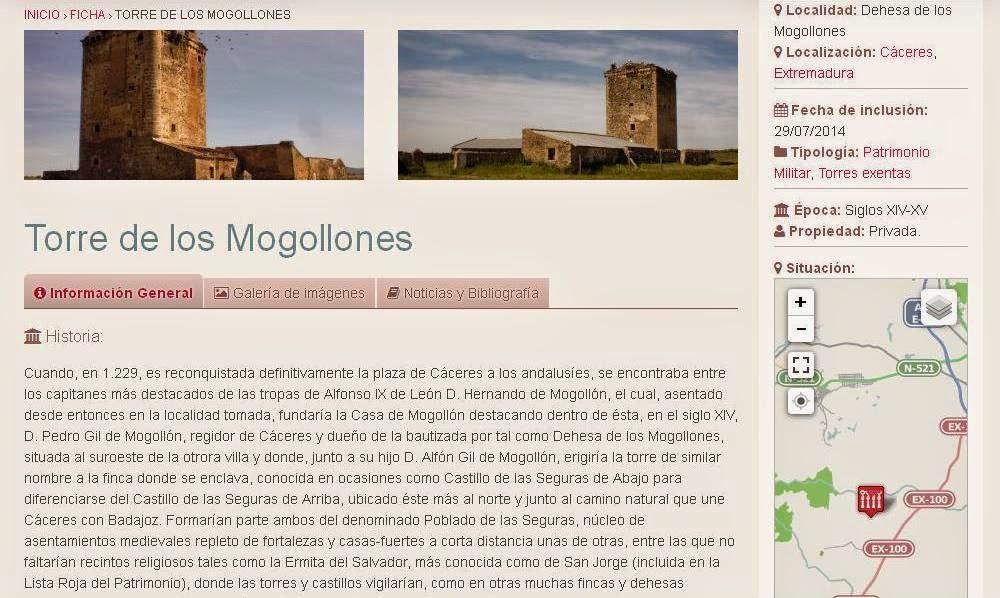 Lista Roja del Patrimonio: Torre de los Mogollones (Cáceres)
