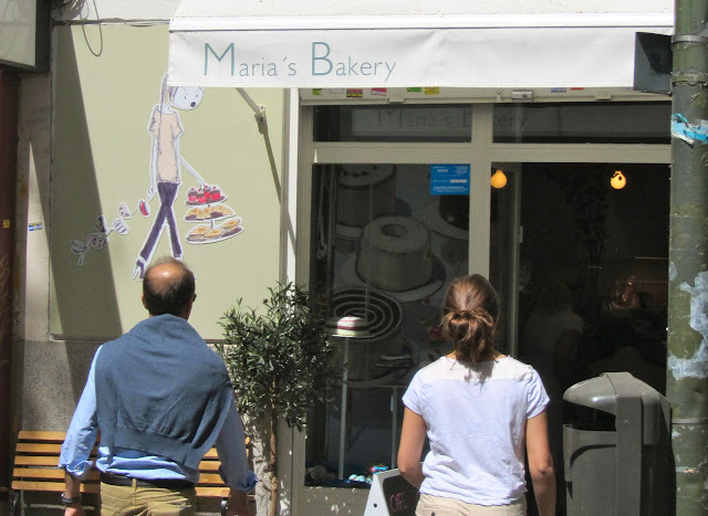Entering Maria's Bakery in Madrid