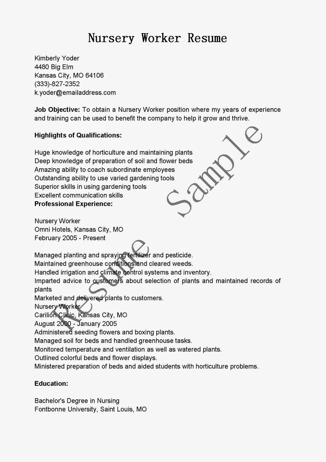 resume sles nursery worker resume sle