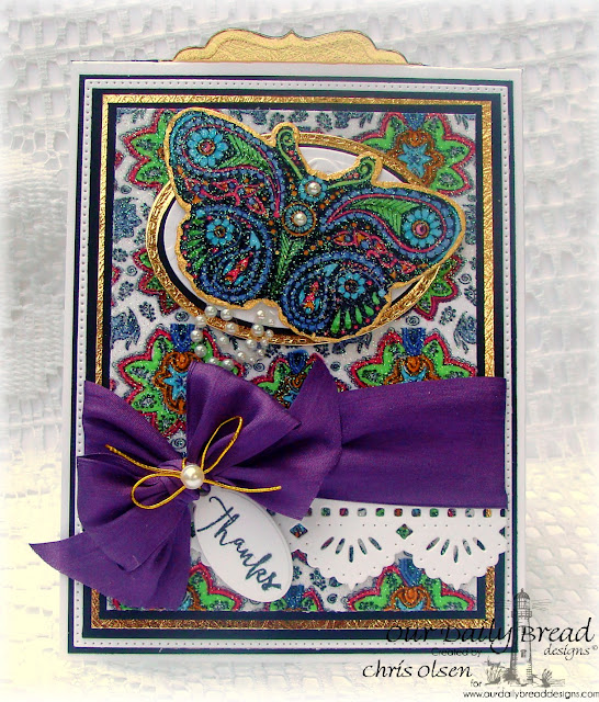 Our Daily Bread designs, Boho Blessings, Boho Paisley Background, Fancy Fritillary die, Beautiful Borders die, Flourished Star Pattern die, Stitched Ovals die, Ovals die, Vintage Labels die, Mini Tags die, Designed by Chris Olsen