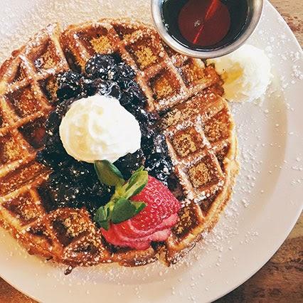 frothy monkey breakfast, nashville breakfast, buckwheat waffles, cherry compote, nashville blogger, nashville style, style blogger, southern style blogger, food blogger, nashville food blogger