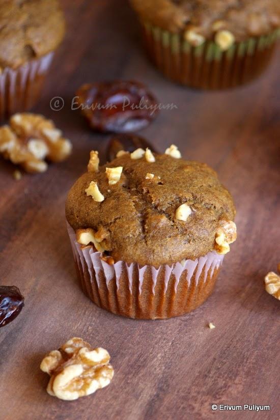 Dates-Walnut-Coffee Muffins (Wheat flour,Eggless & Butterless)