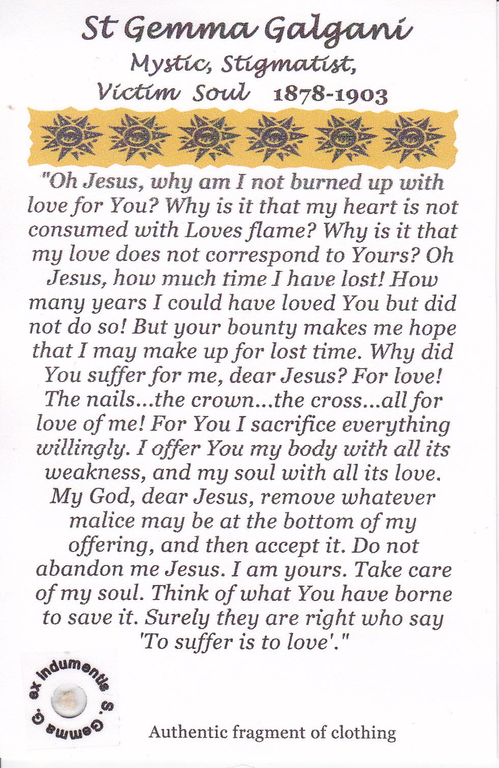 Prayer to st gemma galgani for back pain
