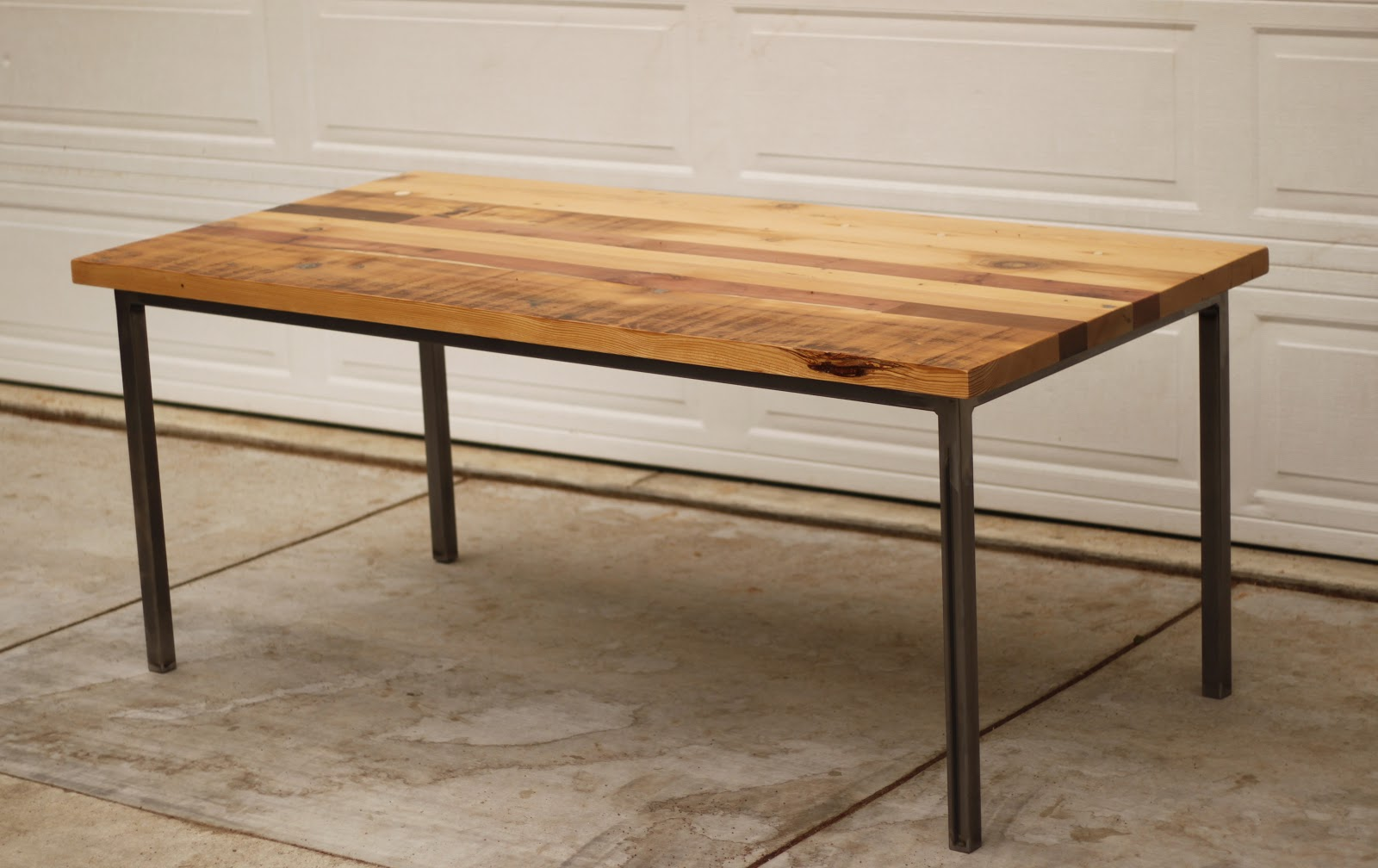 Arbor Exchange : Reclaimed Wood Furniture: Patchwork Table w/ Metal Tubing Base