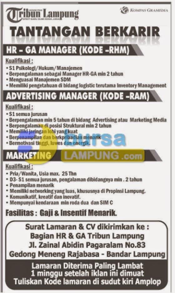 Lowongan Kerja Koran Harian Lampung