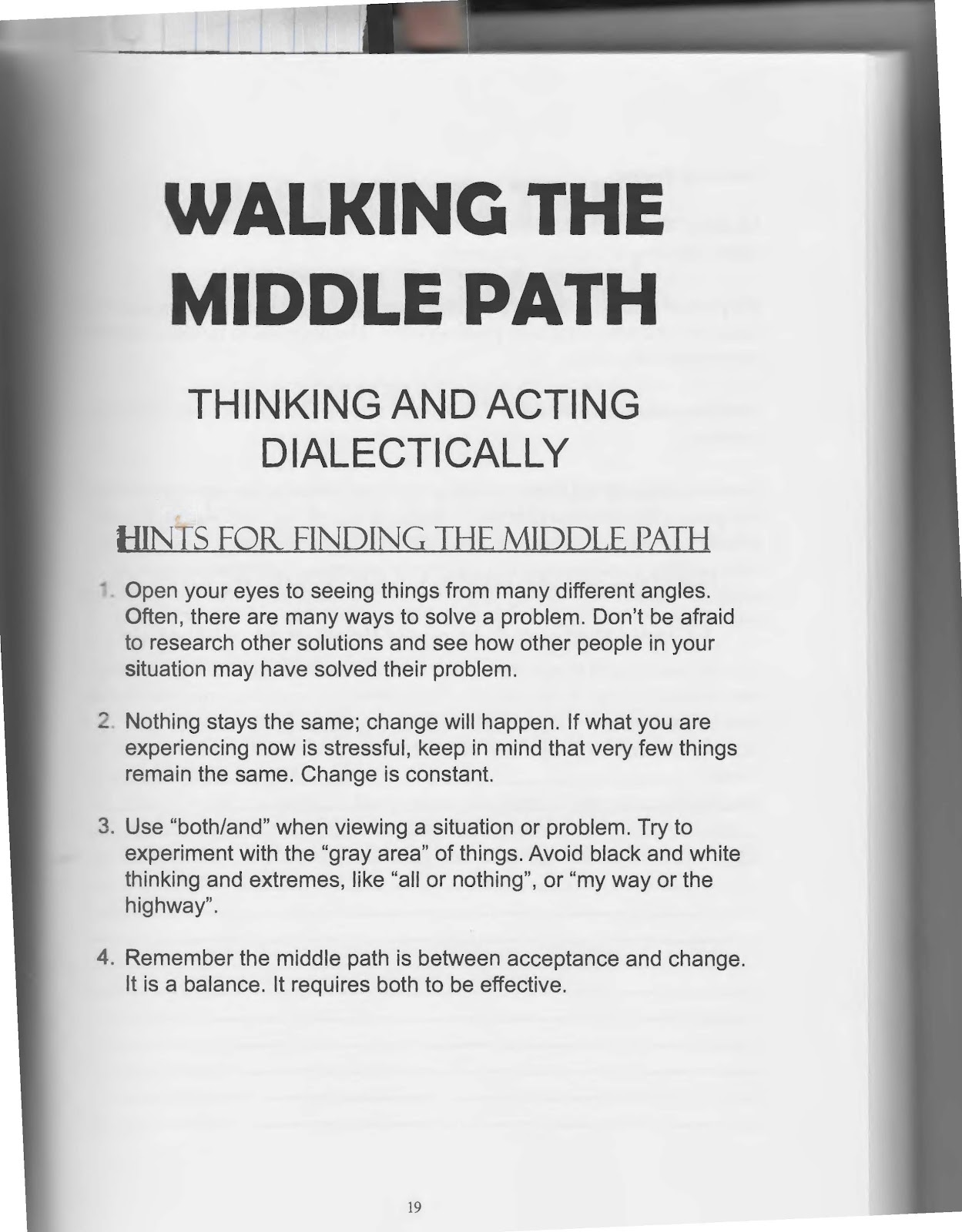 The Art of Dialectical Behavior Therapy Walking the Middle Path – Dialectical Behavior Therapy Worksheets