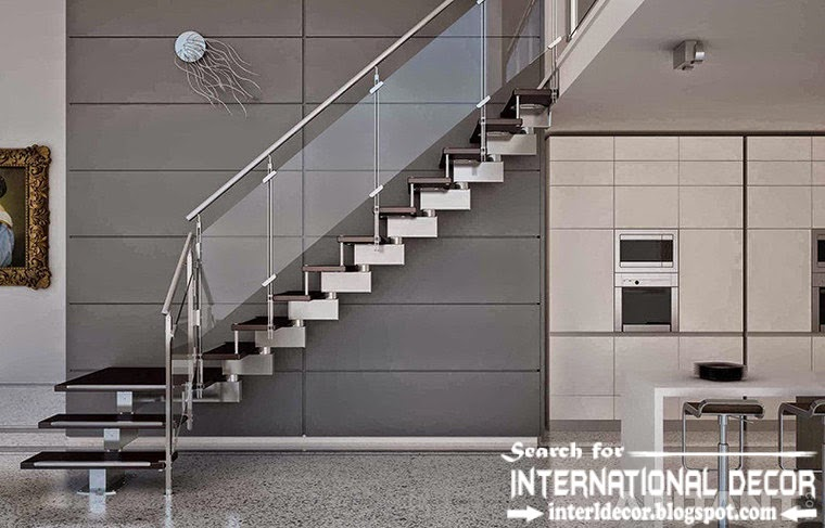 high-tech stairs design 2015 and staircase with glass railings for modern interior