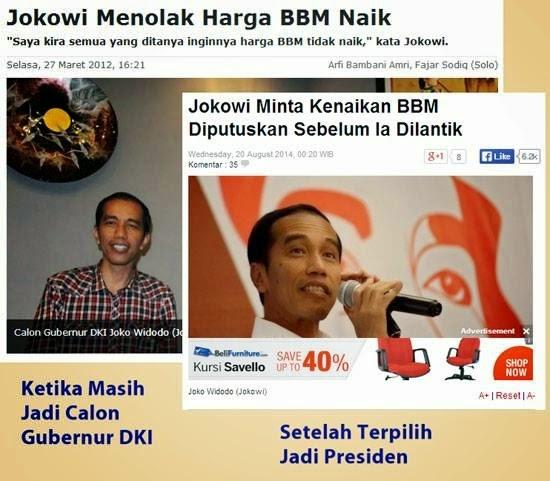 Jokowi menolak kenaikan BBM