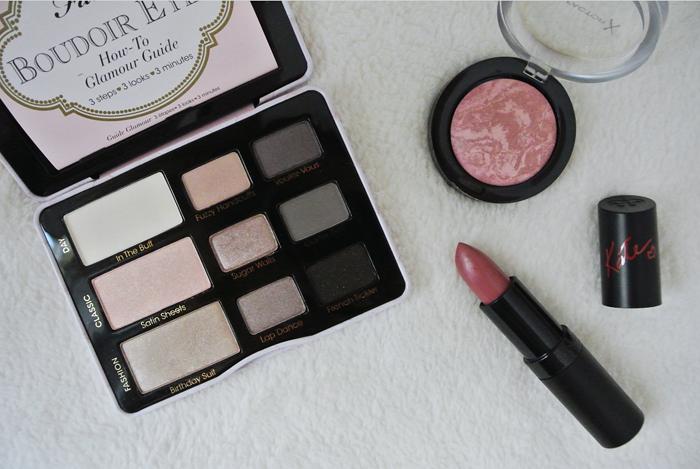 Eyeshadow palette, blusher and lipstick