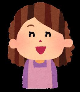 おばさんの表情のイラスト「笑った顔」