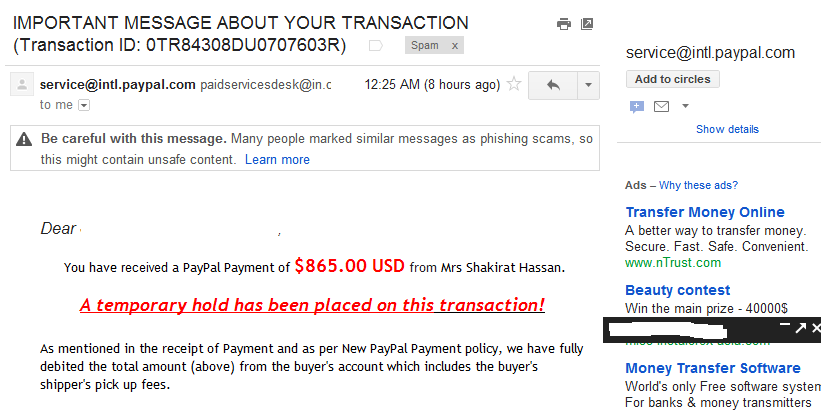 when i checked my spam now im hungry i found a fake paypal notification