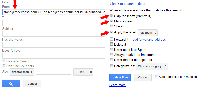 how to make a spam filter gmail