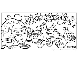 Angry Birds coloring pages thanks giving