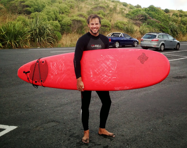 Simon back from surfing at Raglan, New Zealand
