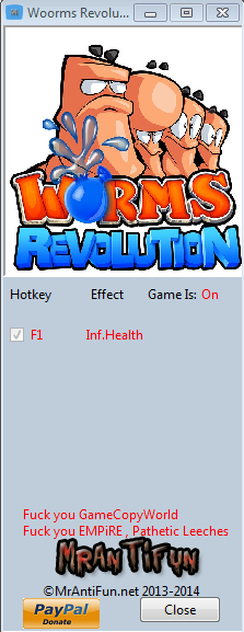 Worms Revolution V1.4.0 Trainer +1 MrAntiFun