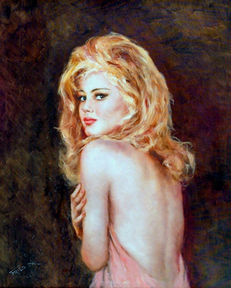 Pál Fried 1893-1976 | Hungarian-born American painter | Nude portrait