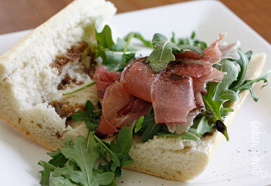 sandwich egg and prosciutto open faced sandwich with tapenade arugula ...