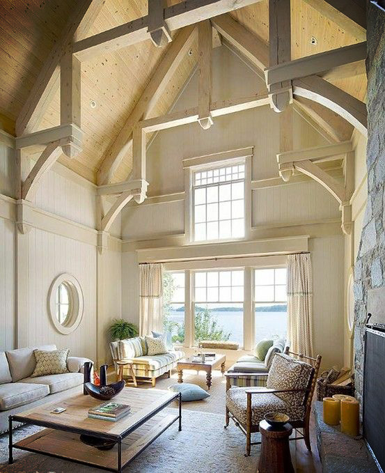 Home Decor Ideas Vaulted ceilings beams in open space