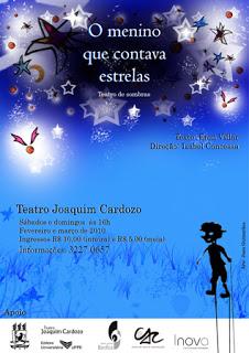 Cartaz da peça O Menino Que Contava Estrelas