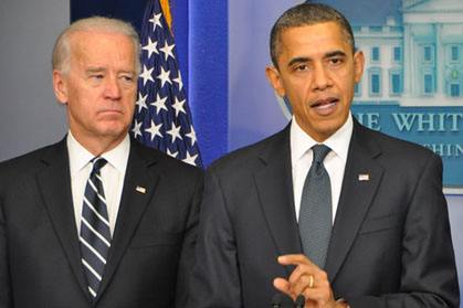 Joe Biden and Barack Obama speak to the press (Photo: Washington Blade)