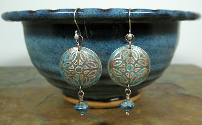 etched copper earrings by Libellula Jewelry