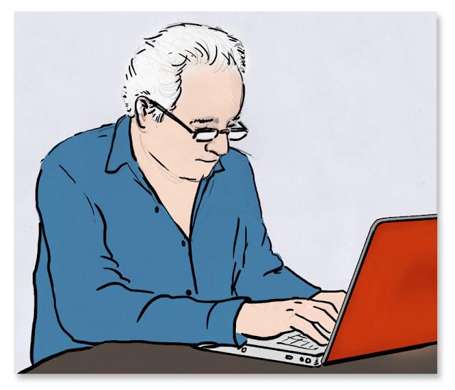 Dibujo del escritor Javier Reverte, que escribió el prólogo del cómic Expedición Malaspina