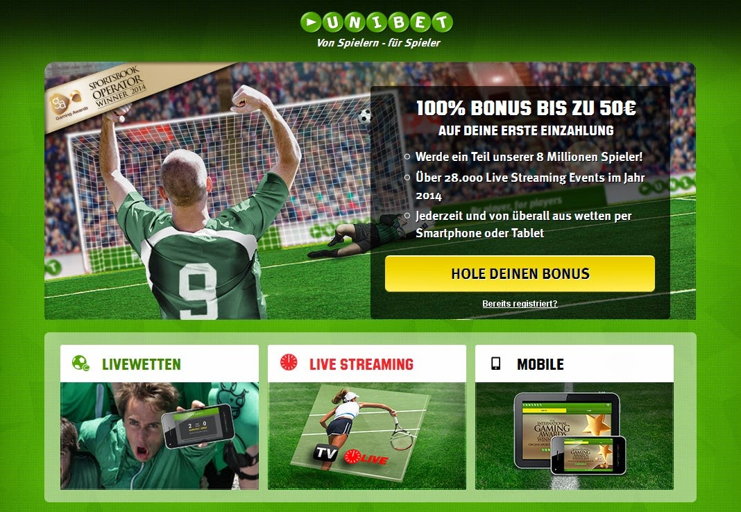 Unibet Landing Page Screen