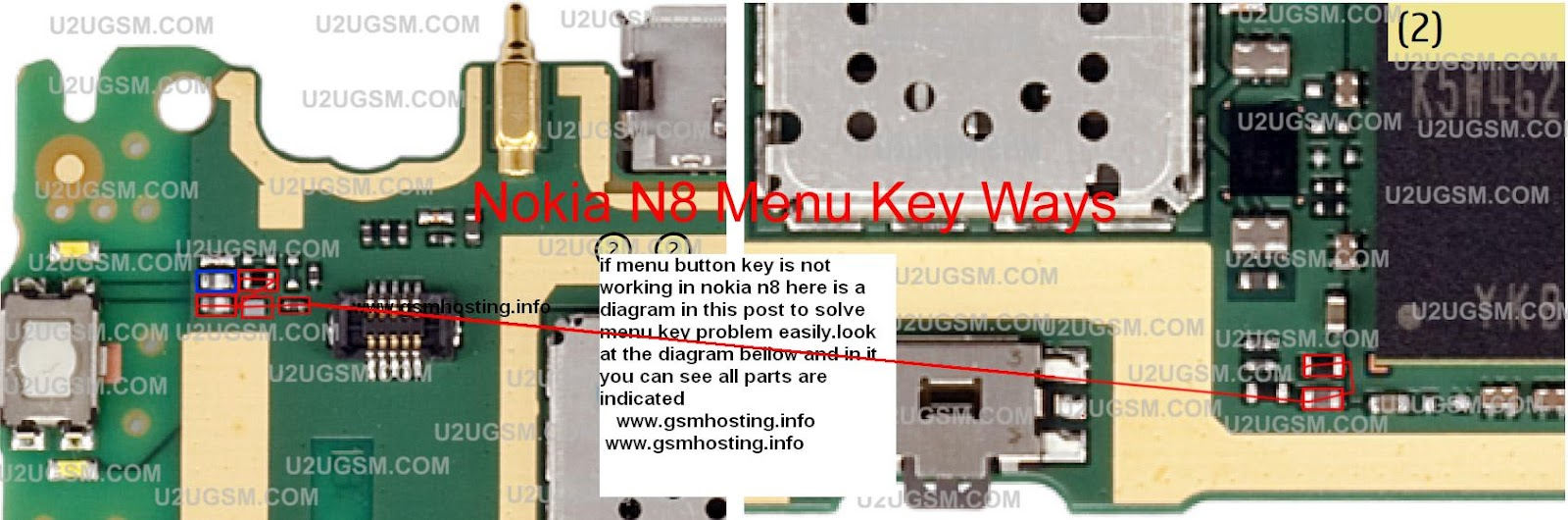if menu button key is not working in nokia n8 here is a diagram in