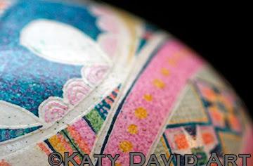 "©Katy David Art: ""Blue Elephant Dreaming"" Batik Eggshell Blue Elephant with Scarves and Ferns"