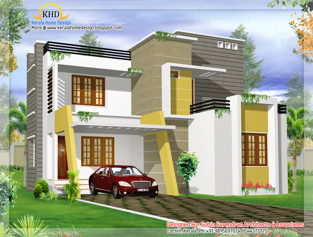 Modern contemporary villa design 1500 sq ft kerala Modern villa plan
