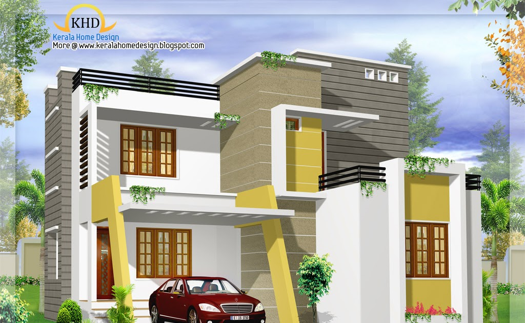 Modern contemporary villa design 1500 sq ft home for Modern house plans 1500 square feet