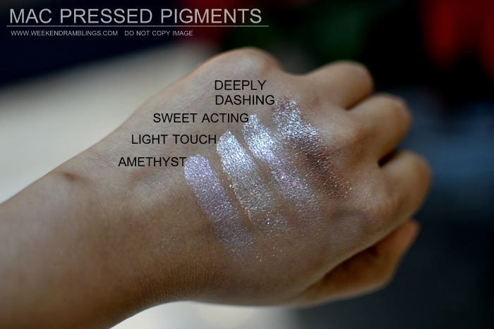 mac pressed pigments makeup collection indian beauty blog darker skin swatches eyeshadows amethyst light touch sweet acting deeply dashing