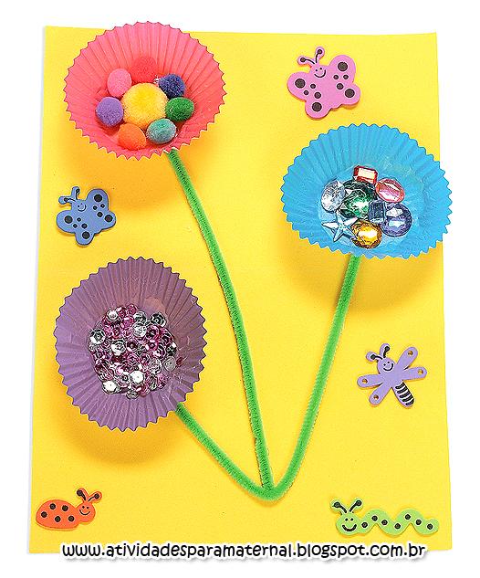Muito Atividades para maternal, creche e berçário: Flores com forminhas  UX84