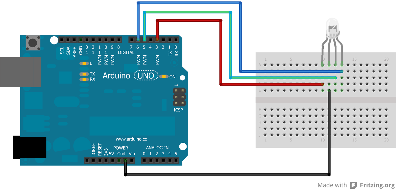 Tech projects arduino rgb led control with c