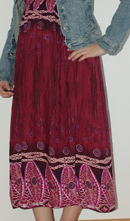 [Fashion] Boho Maxi dress with ethno print & jeans jacket