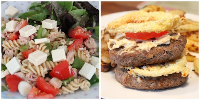 2 picture slimming world daily meal collage tuna pasta salad with cheese cubes. Double beef burger with cheese, onion ring and tomato between each layer, chips, onions & mushrooms in background