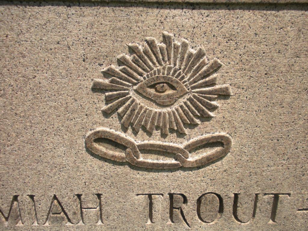 Engraved the fellowship of the odd the all seeing eye of god and the chain links evergreen cemetery jim thorpe pa biocorpaavc Image collections